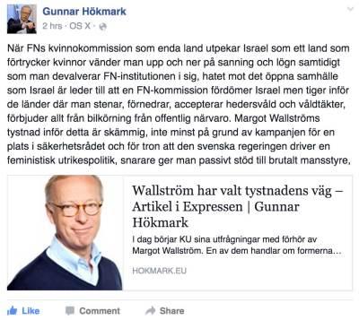 Gunnar Hökmark om Margot Wallström - feministisk utrikespolitik