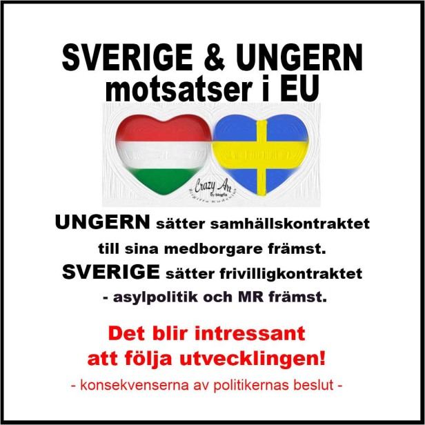 Sverige - Ungern varandras motsatser. Dt blir intressant att följa utvecklingen!