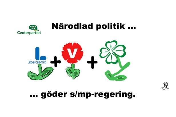 Närodlad politik: L+v+c göder s/mp-regering.