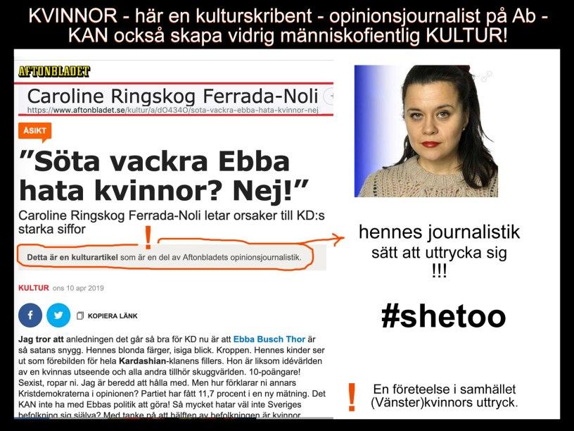 En kvinnas vidriga kultur i att uttrycka sig #shetoo Aftonbladets kultur och opinionsjournalistik.